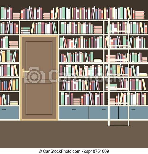 Reusachtig, boekenkast, ouderwetse , illustratie, vector, bibliotheek.