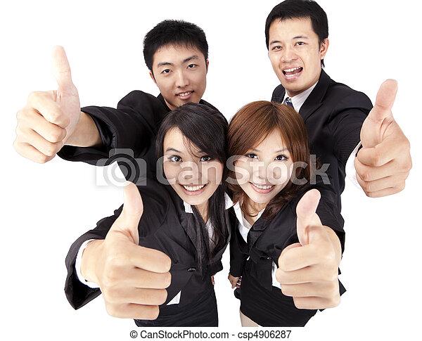 reussite, business, haut, jeune, asiatique, équipe, pouce - csp4906287