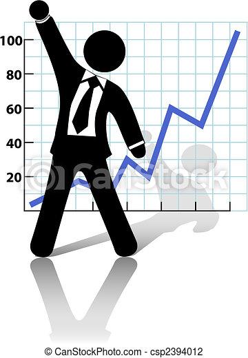 reussite, croissance affaires, augmentations, poing, homme affaires, célébrer - csp2394012