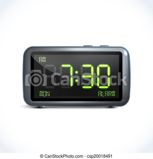 Eps vectors of reveil horloge num rique realistic - Dessin reveil ...