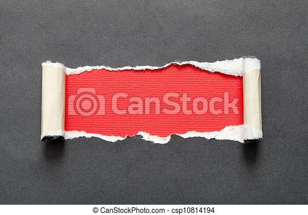 reveladoras, rasgado, él, atrás, papel, fondo negro - csp10814194
