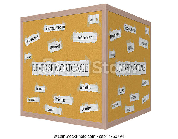 Reverse Mortgage 3D cube Corkboard Word Concept - csp17760794