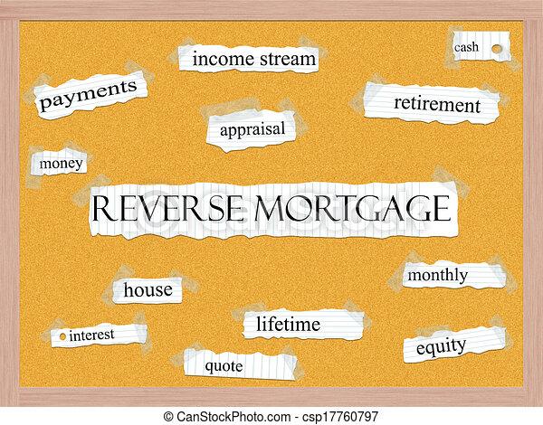 Reverse Mortgage Corkboard Word Concept - csp17760797