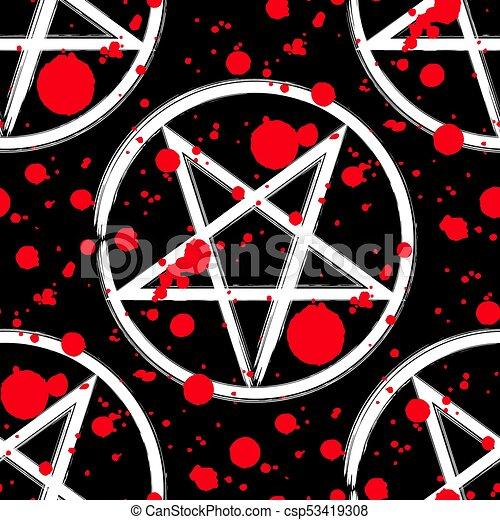 Reversed Pentagram Seamless Pattern Brush Drawing Magic Occult Star