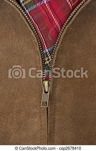 revestimento couro, bronze, zipper, unzipped - csp2678410