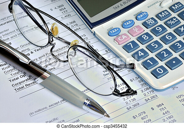 Reviewing the financial report of a company - csp3455432