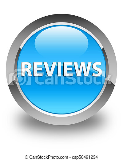 Reviews glossy cyan blue round button - csp50491234