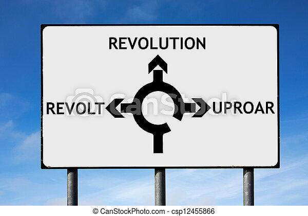 revolução, revolta, sinal, tumulto, rotunda, direções, estrada - csp12455866