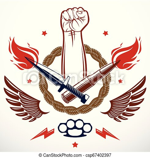 Revolution and Riot aggressive emblem or logo with strong clenched fist, weapons and different design elements , vector tattoo, anarchy and chaos, rebel partisan and revolutionary. - csp67402397