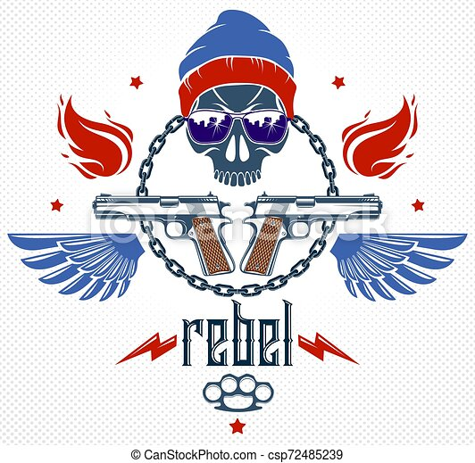 Revolution and Riot wicked emblem or logo with aggressive skull, weapons and different design elements , vector tattoo, anarchy and chaos, rebel partisan and revolutionary. - csp72485239