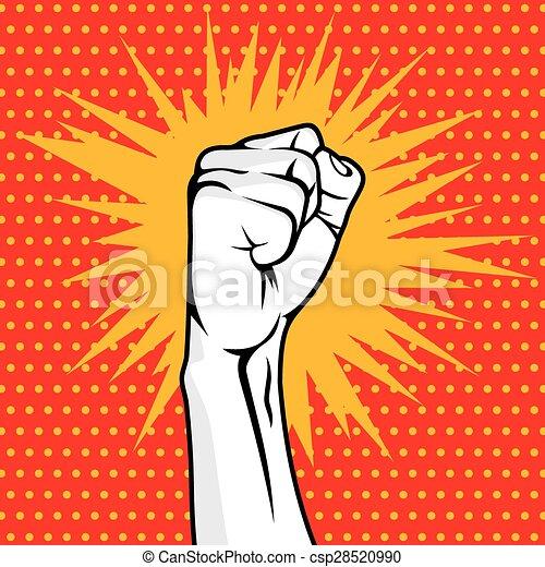 Revolution fist pop art  - csp28520990