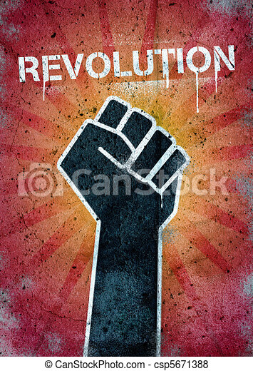 revolution graffiti on a wall with black raised fist stock