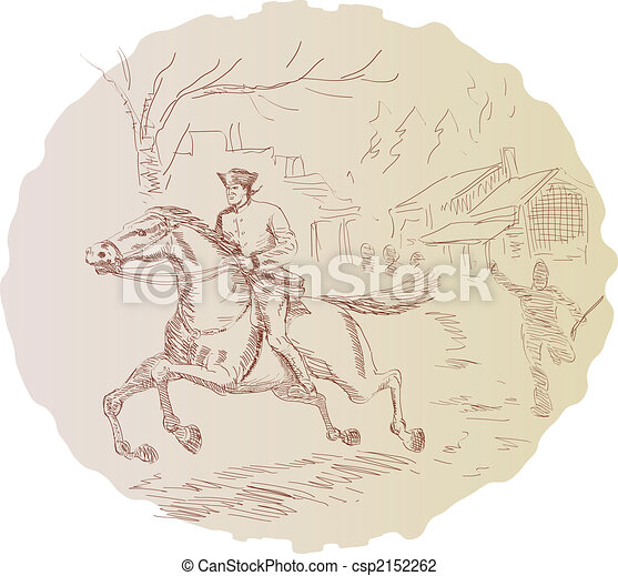Revolutionary soldier on a horse - csp2152262