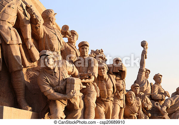 Revolutionary statues at Tiananmen Square in Beijing, China - csp20689910