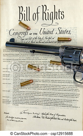 Revolver and bullets on bill of rights - csp12915688