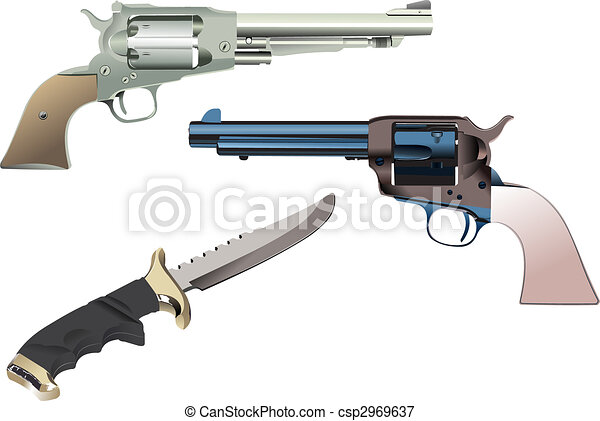Revolvers and knife on isolated background. Vector illustration - csp2969637