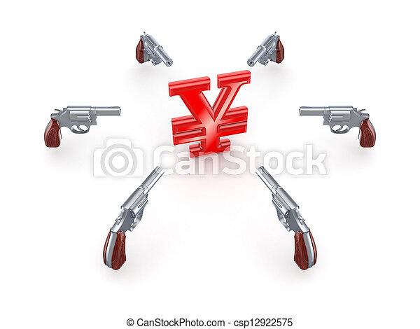 Revolvers around Yen symbol. - csp12922575