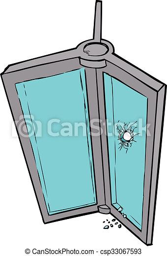 hand drawn illustration of revolving door with broken glass stock rh canstockphoto com  broken glass window clipart