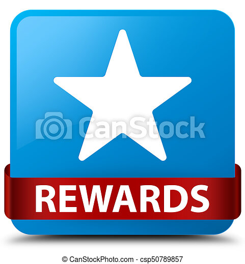Rewards (star icon) cyan blue square button red ribbon in middle - csp50789857