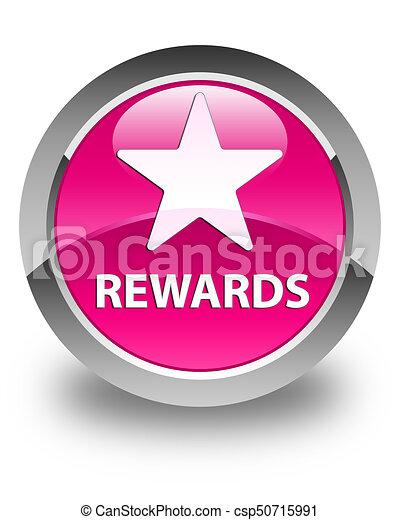 Rewards (star icon) glossy pink round button - csp50715991