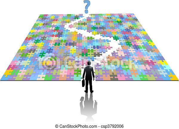 rewizja, handlowy, zagadka, rozłączenie, ścieżka, człowiek - csp3792006
