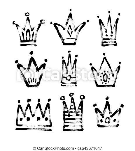 Rey Bosquejo Conjunto Dibujo Negro 9 Blanco Princesa Rey