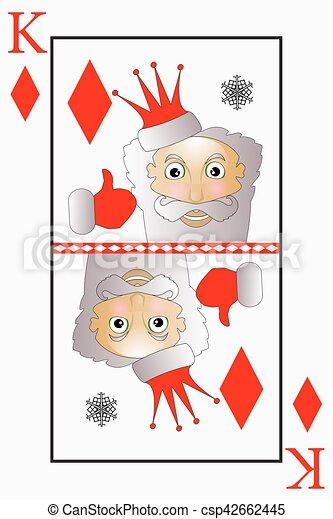 El Vector Santa Claus es un rey de las cartas con diamantes, campanas - csp42662445