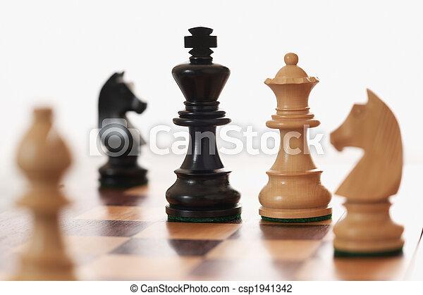 rey, desafiante, reina, juego, negro, ajedrez, blanco - csp1941342