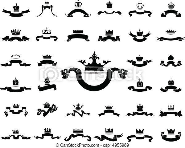 El rey y la reina coronan con icono de la cinta silueta aislada en vector blanco de fondo gráfico vector Eps10 - csp14955989