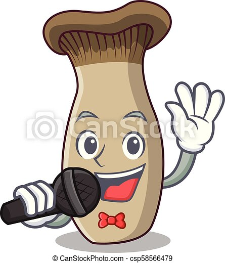 Cantando la caricatura de mascota de las setas del rey trompeta - csp58566479