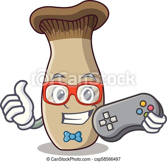 El rey de los juegos trompeta setas caricatura de mascota - csp58566497