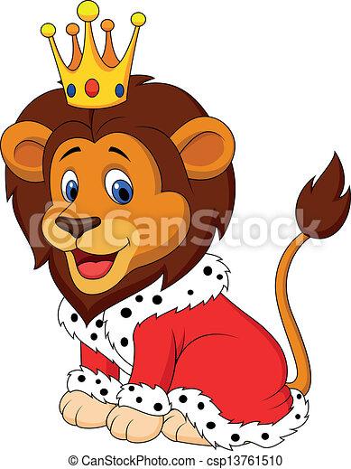 León de dibujos animados en traje de rey - csp13761510