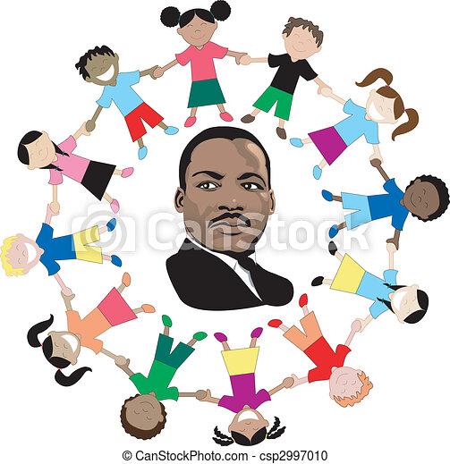 Martin Luther King con niños - csp2997010