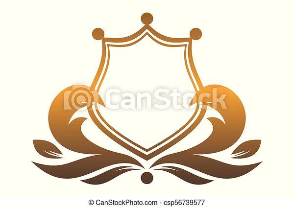 El logo del escudo del rey oro - csp56739577