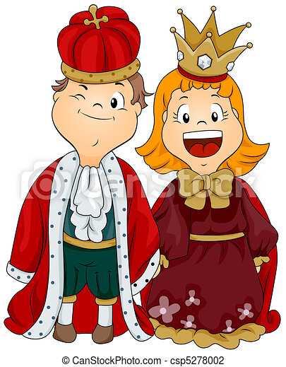Rey Reina Rey Niño Vestido Reina Ilustración Niña