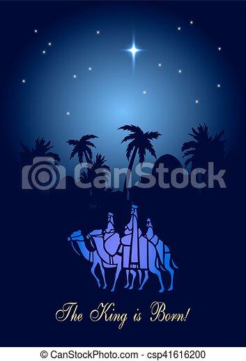 ilustración navideña: tres hombres sabios están visitando al nuevo rey de Jerusalén - csp41616200