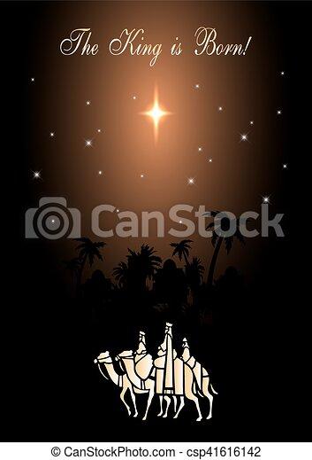 ilustración navideña: tres hombres sabios están visitando al nuevo rey de Jerusalén - csp41616142