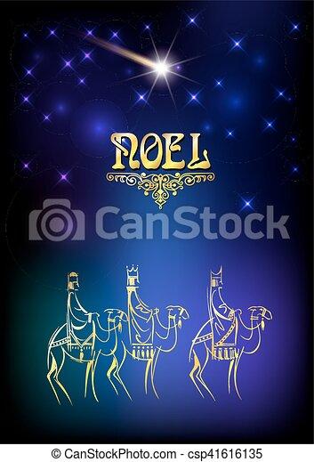 ilustración navideña: tres hombres sabios están visitando al nuevo rey de Jerusalén - csp41616135