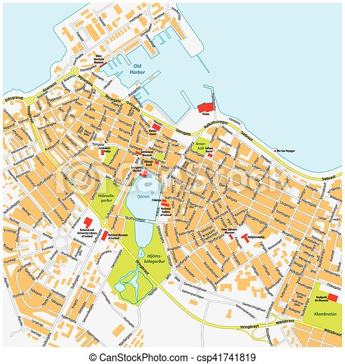 reykjavik city map with road names iceland