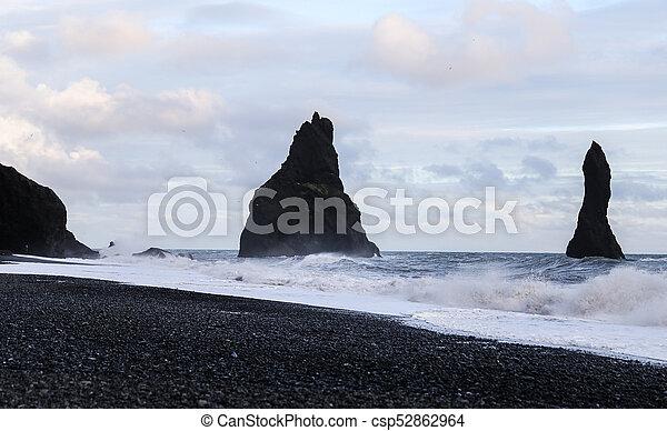 Reynisdrangar Black Sand Beach in Iceland - csp52862964