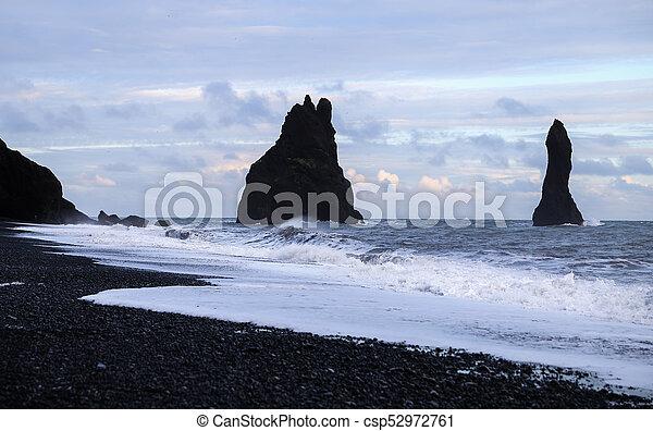 Reynisdrangar Black Sand Beach in Iceland - csp52972761