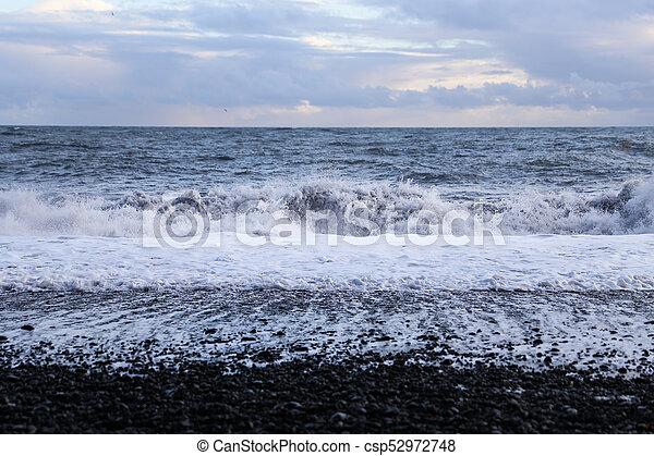 Reynisdrangar Black Sand Beach in Iceland - csp52972748