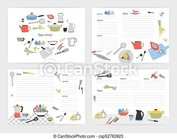 Rezept, geräte, leer, ingredients., kochen, buch, schablonen, bunte ...