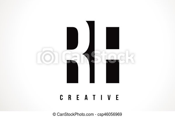 Rf R F White Letter Logo Design With Black Square Rf R F White