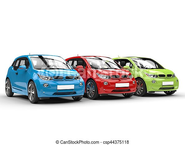 RGB electric cars in a row - csp44375118