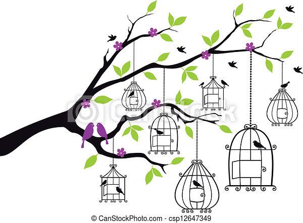 Tree mit offenen Vogelkäfern, Vektor - csp12647349