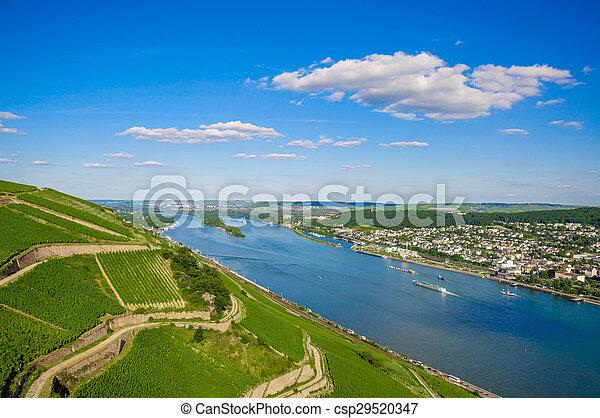 Rhine river near Bingen am Rhein, Rheinland-Pfalz, Germany - csp29520347
