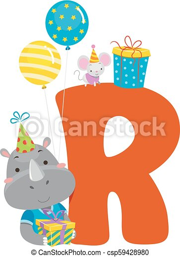 Rhino birthday alphabet illustration. Illustration of a rhinoceros holding  a gift and balloons with letter r.
