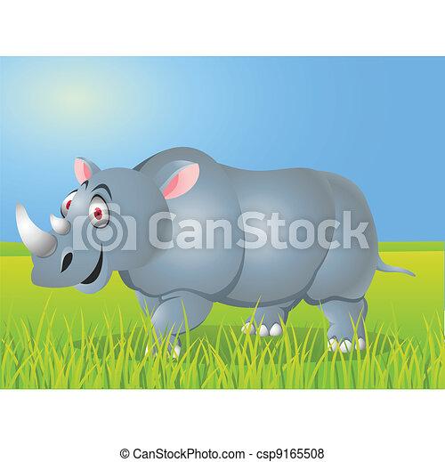 Rhino cartoon - csp9165508