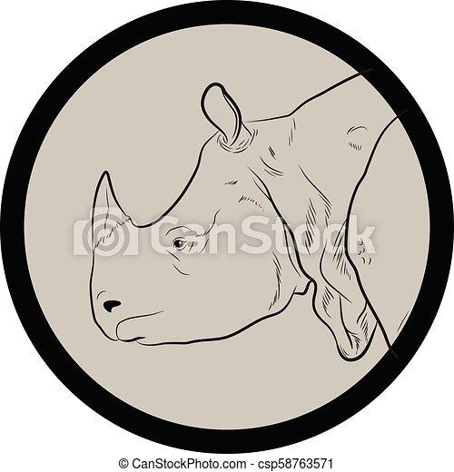 Rhino Face Closeup Vector - csp58763571